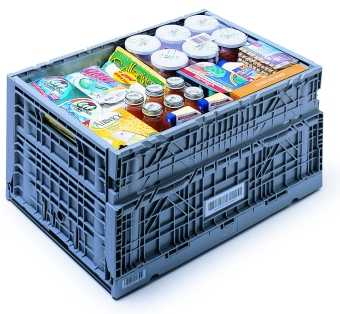 Folding plastic crate for groceries and distribution
