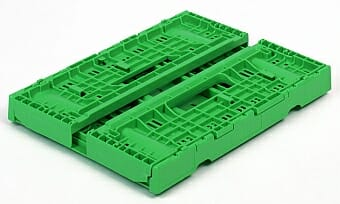 Folded collapsible plastic crate