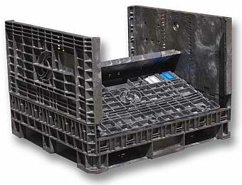 Heavy duty folding plastic bulk container with ventilated floor