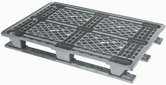 Very light weight nestable Euro plastic pallet with snap-on skids