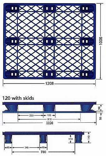 Very light weight nestable plastic pallet with snap-on skids