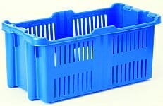 Blue vented plastic crate