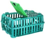 Plastic crate with lid for keeping animals and birds