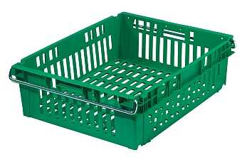 Vented nestable and stackable plastic crate