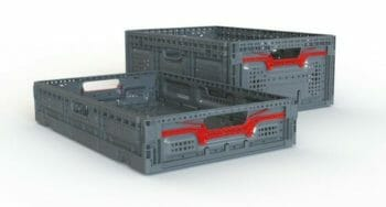 2 folding vented plastic crates