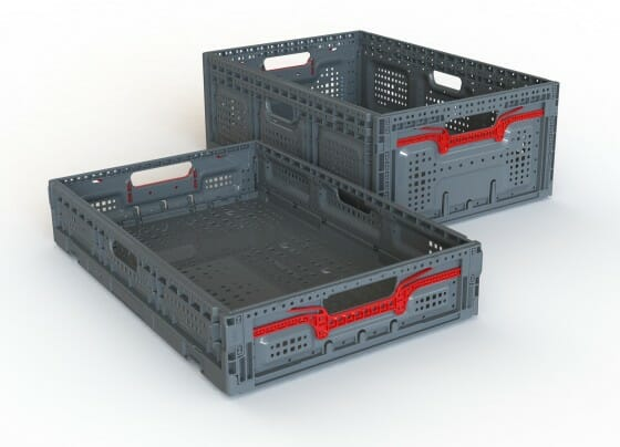 2 collapsible ventilated plastic crates