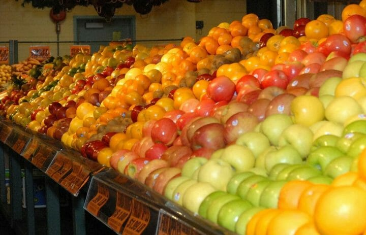Fruit and vegetables on display