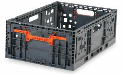 Vented plastic crate with ergonomic handles