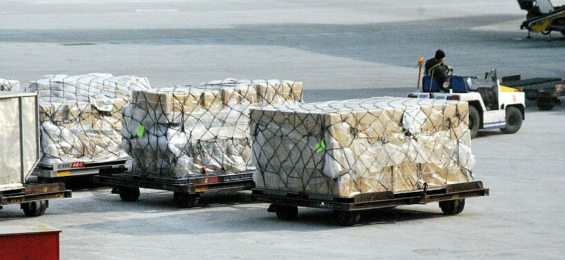 Pallets ready for export via air freight