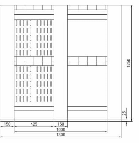Giant Plastic Pallet Box B2G1311 Front Drawing
