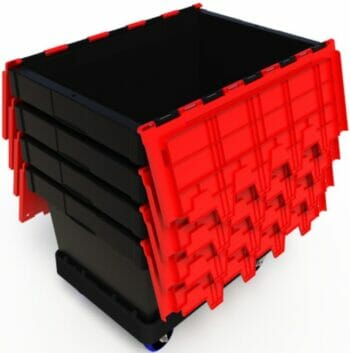 Nested plastic security crates used for safe transport of documents