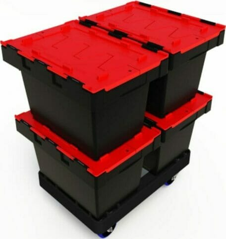 Plastic security crates used for safe transport of documents on a skate