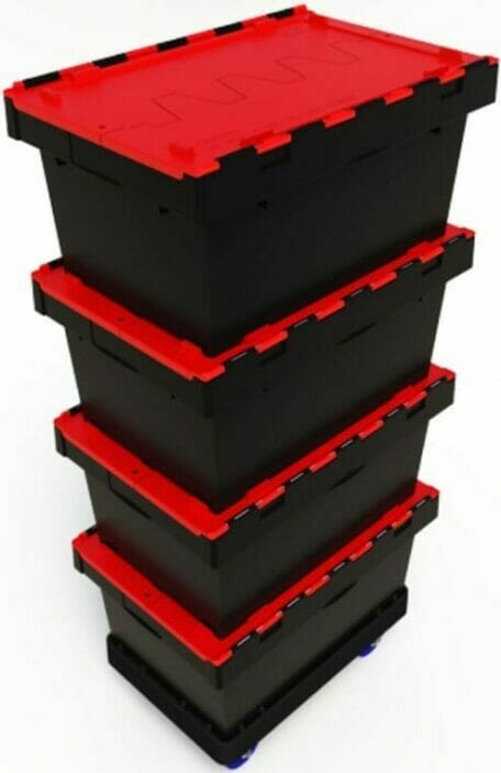 Stack of plastic security crates for safe transport of documents