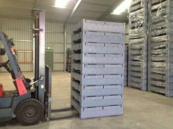 Folding Australian Standard plastic box in a stack