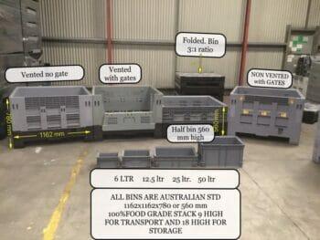 Folding Australian Standard plastic boxes