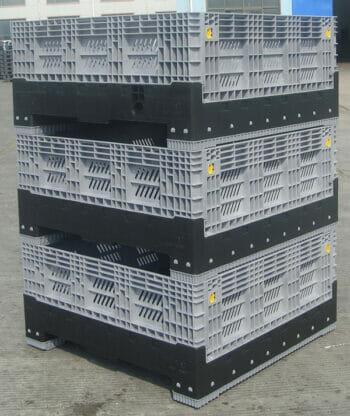 Low folding vented Australian Standard plastic box stack